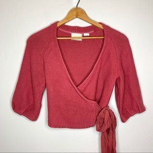Anthropologie Guinevere Crop Knit Wrap Cardigan